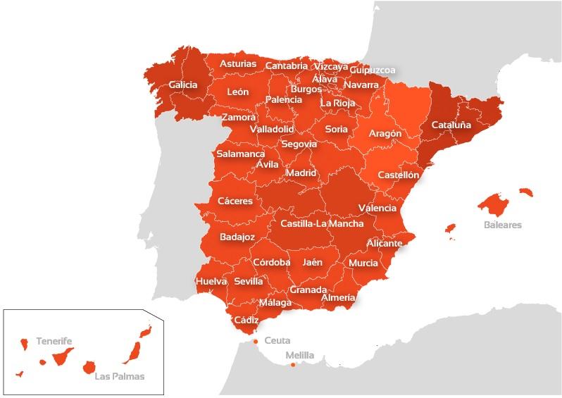 Mapa de españa con la distribución de los colegios